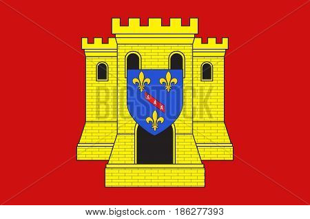 Flag of Etampes is a commune in the metropolitan area of Paris France. Vector illustration