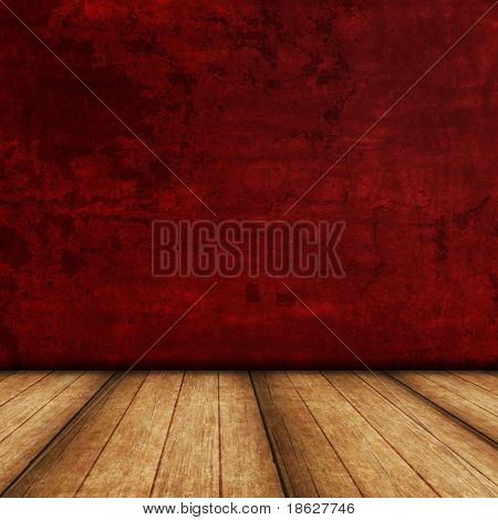 Dimensional Room with a Red Grunge Wall, and a Wooden Floor