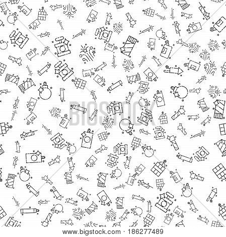 Pyrotechnics set pattern. Vector illustration EPS 10