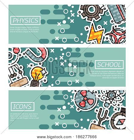 Set of Horizontal Banners about physics. Vector illustration, EPS 10