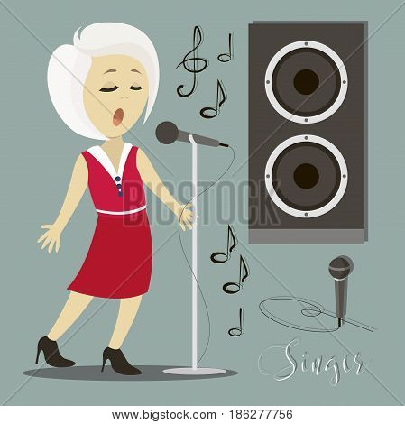 Singing girl. Pop singer Vector illustration flat cartoon illustration isolated on light background.