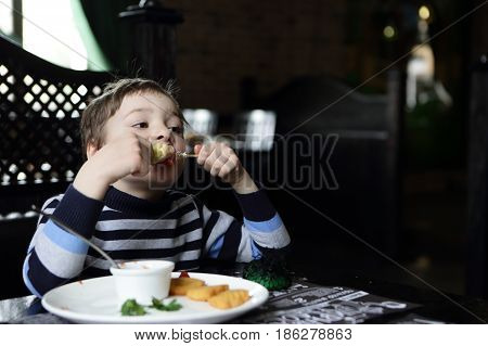 Hungry boy eating kebab in a restaurant