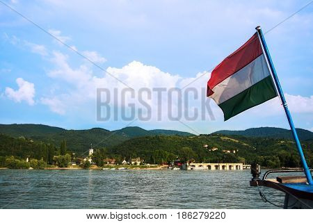 A View To A Church At Visegrad, A Small Town At Hungary Near Budapest From A Ship At Danube, And A H