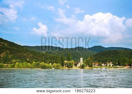A View To A Church At Visegrad, A Small Town At Hungary Near Budapes, From Danube.