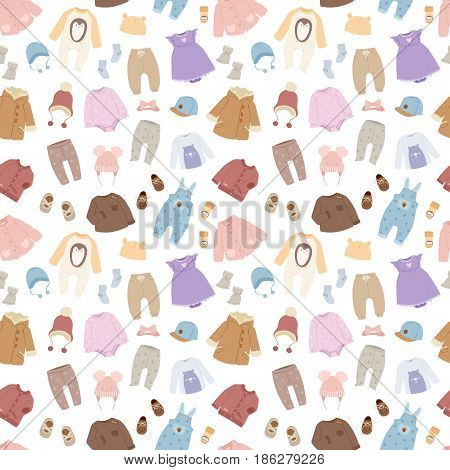 Vector baby clothes icon set design textile. Casual fabric colorful dress. Child garment wear illustration seamless pattern