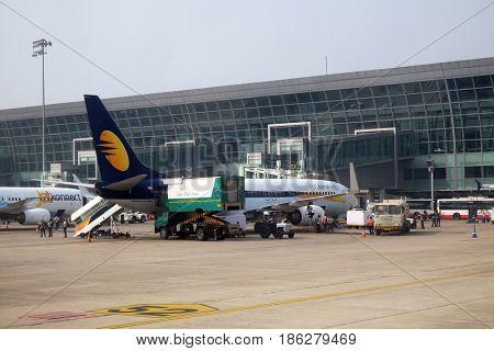 KOLKATA, INDIA - FEBRUARY 07: Boeing 737-800 operated by Jet Airways at Kolkata international Airport on February 07, 2016
