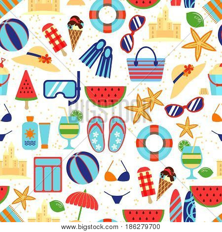 Summer beach pattern with umbrella and starfish, sunglasses and sandcastles. Seamless summer travel pattern and vacation summer time. Vector illustration