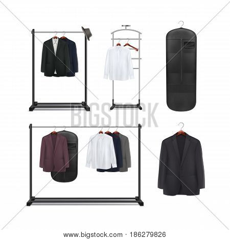 Vector set of black metal, wood clothes racks and stands with shirts and jackets front view isolated on white background