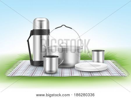 Vector picnic illustration with checkered blanket, camping pot, plates, thermos flask and cups on grass