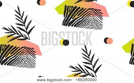 Hand made abstract summer exotic jungle plant tropical palm leaves seamless pattern isolated on white background. Tribal unusual print with wild zebra motif.Nature wallpaper.Trendy Polka dot texture