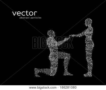 Abstract vector illustration of couple. Offer of marriage.