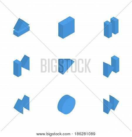 Control buttons player isolated on white background. Flat 3D isometric style vector illustration.