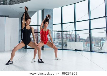 Two slim young female dancers in leotards standing in wide-legged pose holding their long hair with one hand in studio.