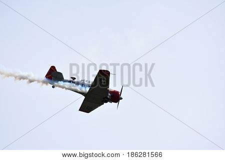 Albion Park Australia - May 6 2017. North American T-6 Harvard aircraft used by the United States Air Force. Wings Over Illawarra is an annual air show held at Illawarra Regional Airport.