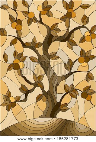 Illustration in stained glass style with an orange tree standing alone on a hill against the skybrown tone sepia