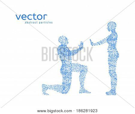 Abstract vector illustration of couple on white background.