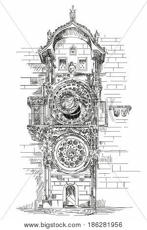 Astronomical Clock in Prague Czech Republic vector hand drawing illustration in black color on white background