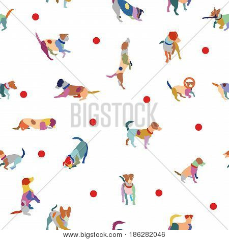 Vector seamless pattern with colorful jack russel terriers on white background