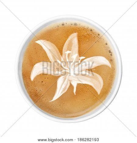 paper cup of coffee latte with foam. Disposable to go coffee cup  isolated on white. Top view latte art coffee. Lily flower on latte art drawing coffee cup