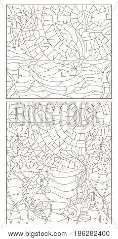 Set contour illustrations of stained glass with fish dolphins and fish carp