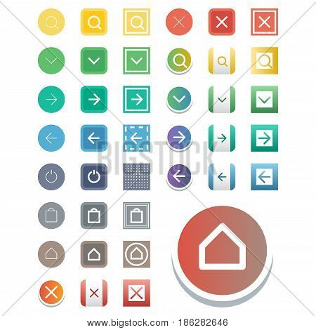 Colorful website web buttons design vector illustration glossy graphic label internet confirm template banner. Rounded blank menu reflection business navigation download interface.