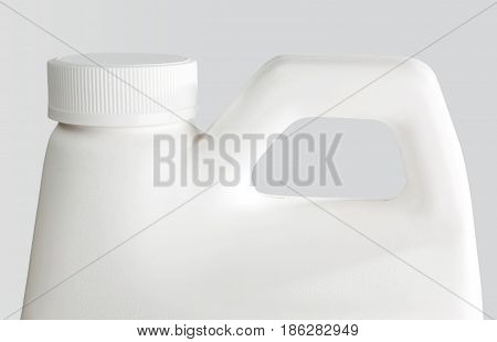 White Plastic Bottle  On A White Background