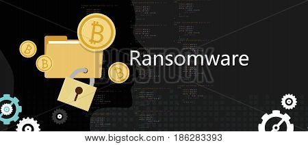 ransomware wannacry hacker malware concept of lock folder and ask money vector