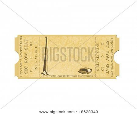 Baseball Ticket on White