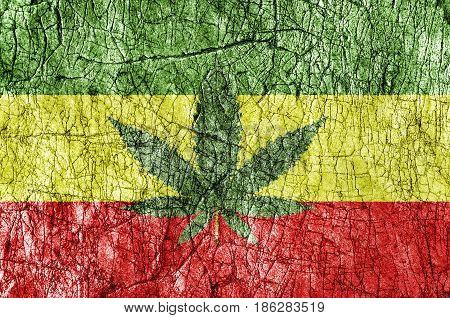Grudge stone painted Rassta flag close up