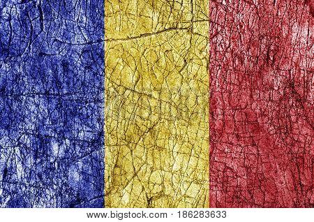 Grudge stone painted Romania flag close up