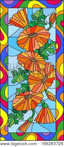 Illustration in stained glass style with flowers buds and leaves of calendulavertical orientation