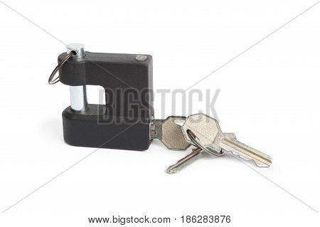 Metallic padlock and keys isolated on white