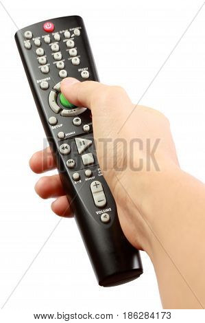 Hand with remote control isolated on the white background