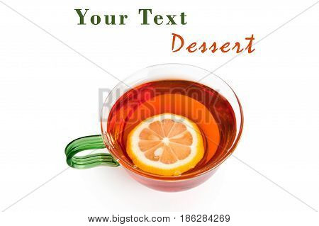 Tea with a lemon in a glass cup isolated on a white background