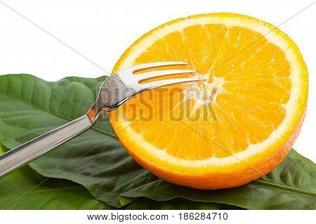 cut orange with a plug on leaves