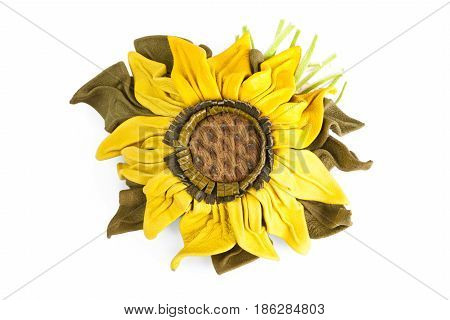 Sunflower Flower from a genuine leather isolated on the white background