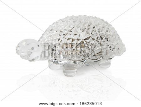 Crystal casket in the form of a turtle Beautiful crystal casket in the form of a turtle for jewelry isolated on a white background