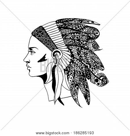 The profile of a girl in traditional headdress of an Indian chief with decorative feathers. Vector illustration