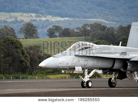 Albion Park Australia - May 6 2017. RAAF F/A-18 Hornets. Wings Over Illawarra is an annual air show held at Illawarra Regional Airport.