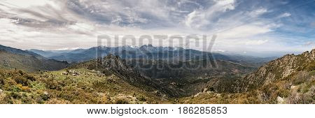 Dramatic Panoramic View Of Snow Capped Mountains Of Northern Corsica