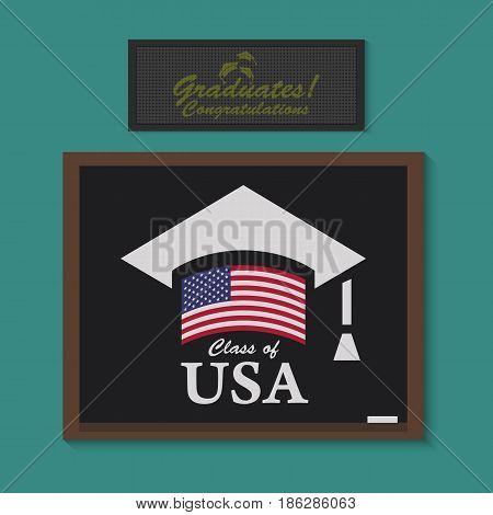 Vector graduate USA Icon. Color american flag in education cap. Class of USA university.Graduate class of badge on school blackboard. graduates congratulation It is written on Digital Watch