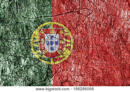Grudge stone painted Portugal flag close up