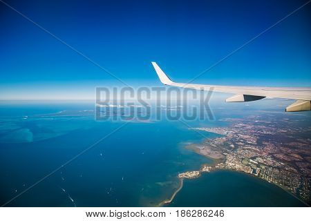 Sydney sky view from Aeroplane over Sydney Harbour,  Costa Line, Cityscape