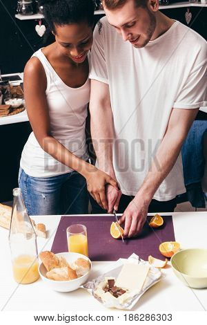 Young Couple Cook Together Culinary Home Happy Togetherness Relationship Interracial Family Healthy Food Leisure Concept