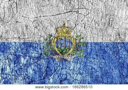 Grudge stone painted San Marino flag close up