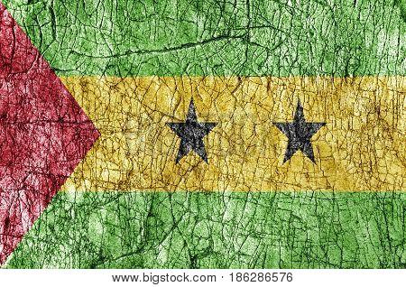 Grudge stone painted Sao Tome and Principe flag