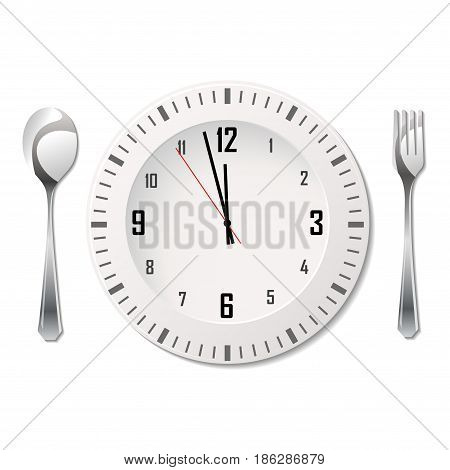Silhouette of fork, spoon and plate with clock