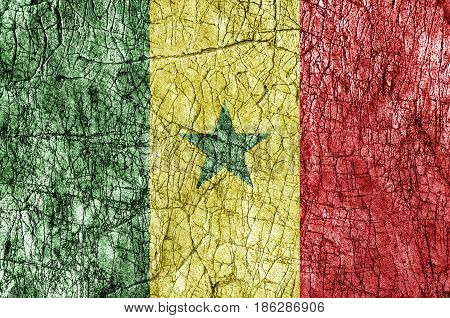 Grudge stone painted Senegal flag close up