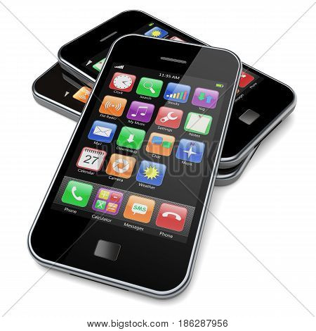 Mobile smartphone gadget with touchscreen and colorful apps. 3d image