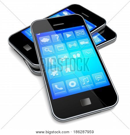 Mobile smart phones with blue screen and apps . 3d image